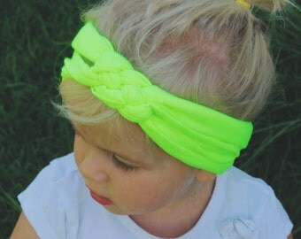 Neon Green celtic braided headband