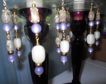 Lavender Fields, Upcycled Bobeches with Vintage Necklaces, Candle Wax Catchers