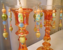 Ambrosia Cornucopia, Upcycled Bobeches with Vintage Necklaces, Candle Wax Catchers