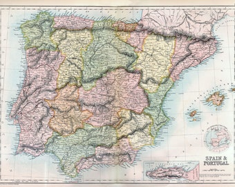 Map of Spain and Portugal - 1867