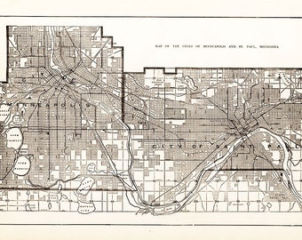 Map of the cities of Minneapolis and St. Paul , Minnesota