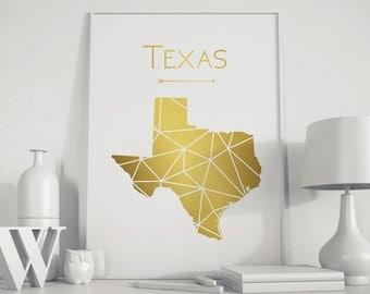 Texas wall art Texas decor Texas art Gold wall art Texas print  Texas map  Map Wall Decor art Geometric art Gold art Modern minimalist