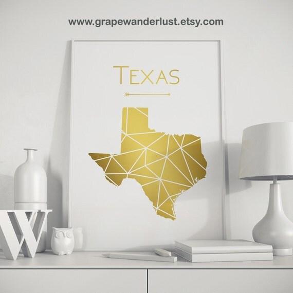 Texas wall art Texas decor Texas art Gold wall art Texas print