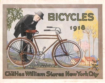Bicycle Print, Antique Bicycle Print, Charles William, 1918, Matted Print