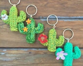 Crochet Cactus Keychain or Magnet  ! Handmade unique gift that needs no water!