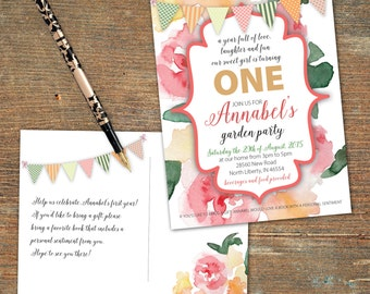 Floral Birthday Invitation Postcard, Double-Sided, Customizable, Printable