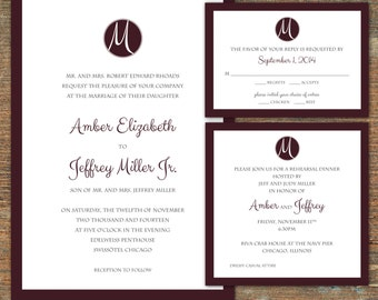 Classic Monogram Wedding Suite - customizable, printable