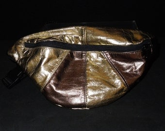 Vintage Metallic Leather Fanny Pack