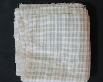 Vintage Cotton Linen Olive Green Checked Fabric