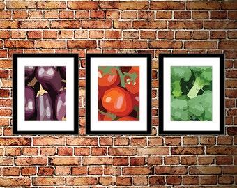 Kitchen Vegetables Art Minimalist Retro Block Tomato Eggplant Broccoli - Set of 3