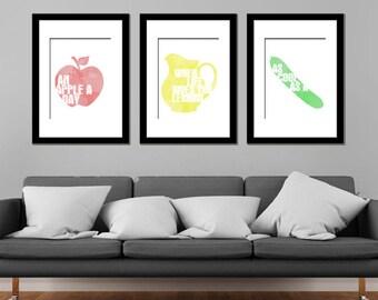 Food Idioms / Sayings Fruit Veg Modern Art Prints - Set of 3