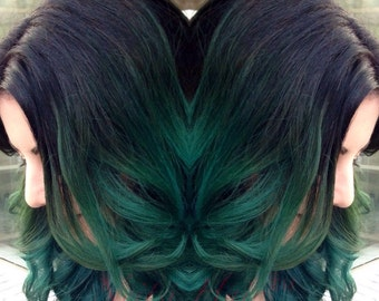 Black and Green Ombre Clip In Hair Extension Piece - Multiple Colors Available