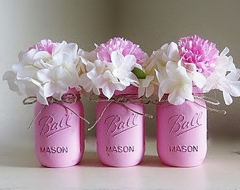 Pink Baby Shower Centerpieces Party Decor   Pink Mason Jar Decor   Pink Baby  Shower