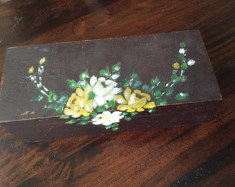 Vintage Globe Wernicke file box with folk art flowers