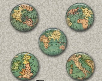 """World Globe 5 Button Set 1.25"""" Pinback Button, Flatback or Fridge Magnet, Badge, Science, cartology, Map, Continents, Countries Earth Planet"""