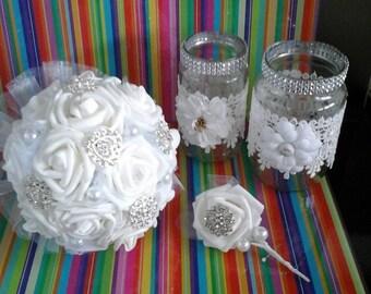 Bridal broach/brooch bouquet /matching buttonhole/wedding/vintage/
