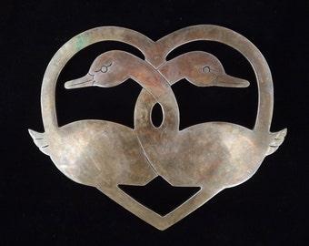 Brass Heart Shaped Trivet, Swans, Retro Kitchen, Cottage Decor, Garagapalooza