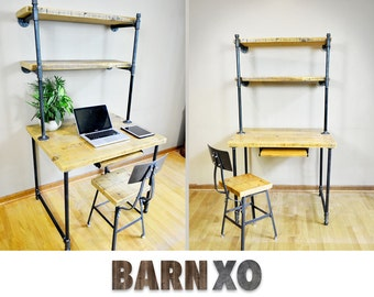Salvaged Urban Wooden Desk W/ Built In Shelving Unit Attach To The Walls - Industrial Piping Leg Base