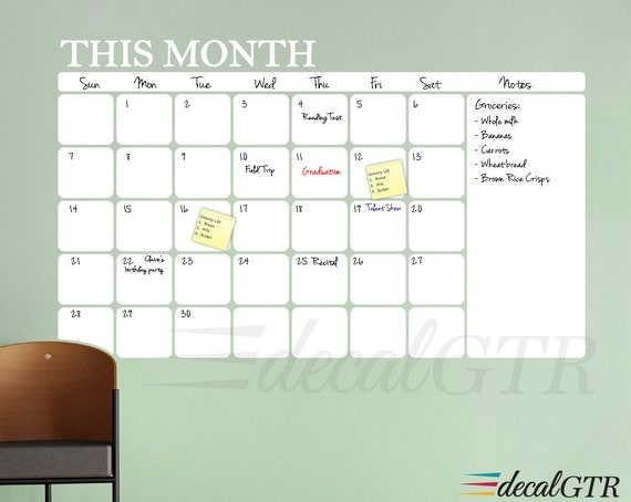 Dry Erase Calendar Decal : Dry erase wall calendar decal rounded corners adhesive