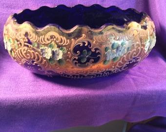 Vintage Hand painted, Colbalt Blue dish