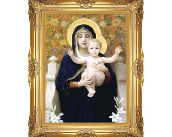 Canvas Art Virgin of the Lilies William Bouguereau Christian Framed Religious Print Painting Reproduction - Sizes Small to Large - M00894