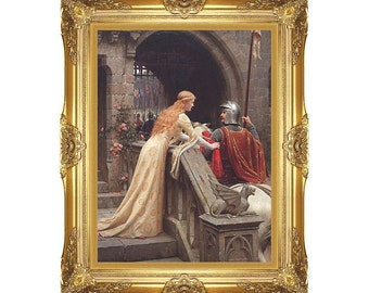 Framed Art God Speed Edmund Blair Leighton Victorian Painting Reproduction Wall Artwork Print on Canvas - Sizes Small to Large- M01886