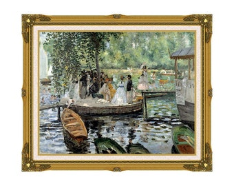 Framed Wall Art Pierre-Auguste Renoir La Grenouillere Canvas Print Giclee Painting Reproduction Sizes Small to Large - M00132