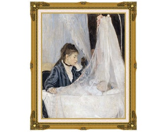 Framed The Cradle Berthe Morisot Canvas Wall Art Print Giclee Painting Reproduction - Sizes Small to Large - M00187