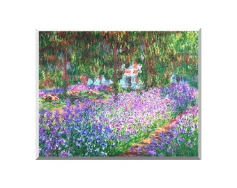 The Artist's Garden in Giverny Claude Monet Painting Reproduction Stretched Art Canvas Giclee Print - Sizes Small to Large - STM00706-6