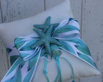 Wedding Ring Bearer Pillow / Turquoise Shell Destination Themed Wedding / Starfish
