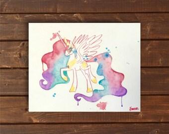My Little Pony, Princess Celestia, Original Watercolor Canvas, 8x10