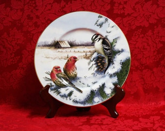 Lenox Winter Greetings Scenic Downy Woodpecker & House Finch Accent Plate, Lenox Winter Greetings, Catherine McClung Art, Lenox Collectible