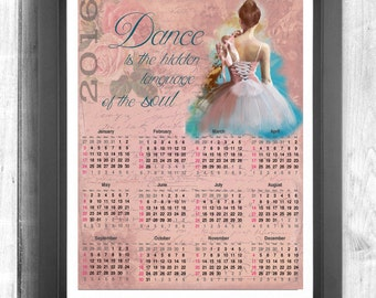 2016 Printable Calendar for dance lovers and dancers