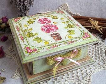 Jewelry Storage Box. Decoupage Box. Wooden Decoupage Box. Girly Box. Jewelry Box.