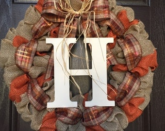 Fall Burlap Wreath, Autumn Burlap Wreath, Orange wreath, fall wreath, Monogram Wreath, Ranch wreath, Personalized Fall Wreath, Autumn wreath