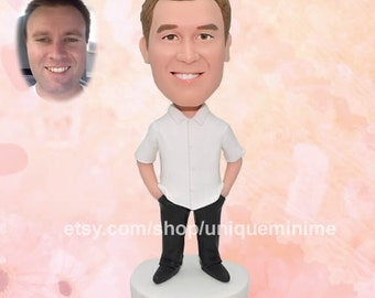 wedding anniversary, gift for husband, second, wedding, anniversary, Bobblehead doll, custom, personalized, Bobblehead dolls, custom gift