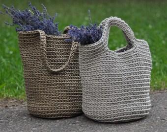 Rope bag / linen bag / Unique design Bag from cotton or linen rope / Handmade crochet beach bag / market bag / tote bag / beach bag
