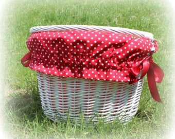 Bike bicycle BASKET LINER - red polka dot, yellow chevron, naval anchors, stars and more