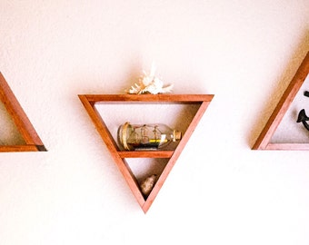 Triangle Wood Shelves - Set of 3 - Your Choice of Stain Color - Nursery Decor - Home Decor - Gift for Her