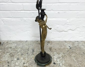 Bronze Female Candlestick by Auguste Moreau