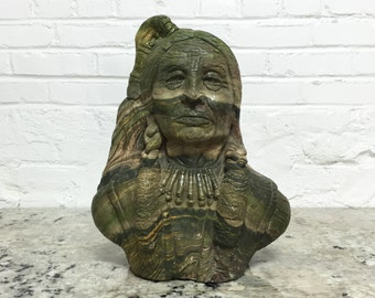 Midwestern Tramp Art Native American Bust