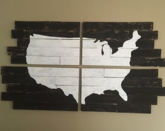 United States wood panel map