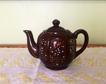 Redware teapot Japan handpainted chocolate brown gold edging