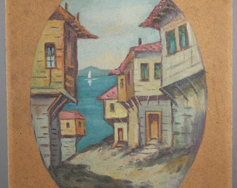 Vintage sea village oil painting
