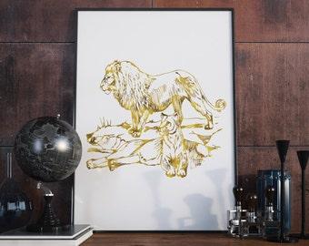 Gold Lion Print, Lion Art, Lion Wall Print, Printable Wall Art, Gold Print, Digital Wall Print, Downloadable, Wall Prints
