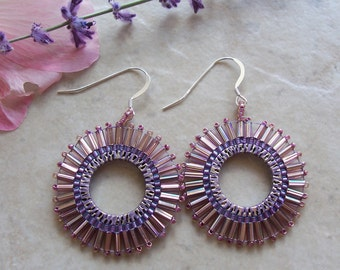 Bead Embroidered Boho Sun Hoop Earrings ~ Dusty Rose ~ Czech Glass Seed Beads ~ Sterling Silver Earwires ~ 34mm
