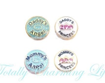 Daddy or Mommy's Princess or Angel Floating Charm fits Living Memory Floating Origami Locket Necklace Jewelry Family