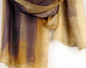 Mustard grey silk scarf painted by hand. Sepia, brown scarf. Abstract painting on silk by Dimo. Autumn colored scarf. Mother's Day gifts