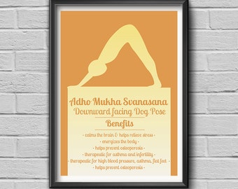 "Yoga Pose ""Adho Mukha Svanasana - Downward Facing Dog Pose"", Yoga Print, Yoga Art, Yoga Studio Art, Wall Art Decor, Yoga Gift"