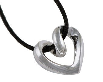 Silver Twisted Heart Pendant with Cord